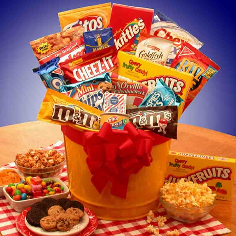 When you need a last minute gift consider a Junk Food Basket. A collection of junk food is sure to satisfy the biggest junk food junkie or couch potato you know. Once the goodies are gone, they can use the cheerful pail for holding collectibles, candy or #food