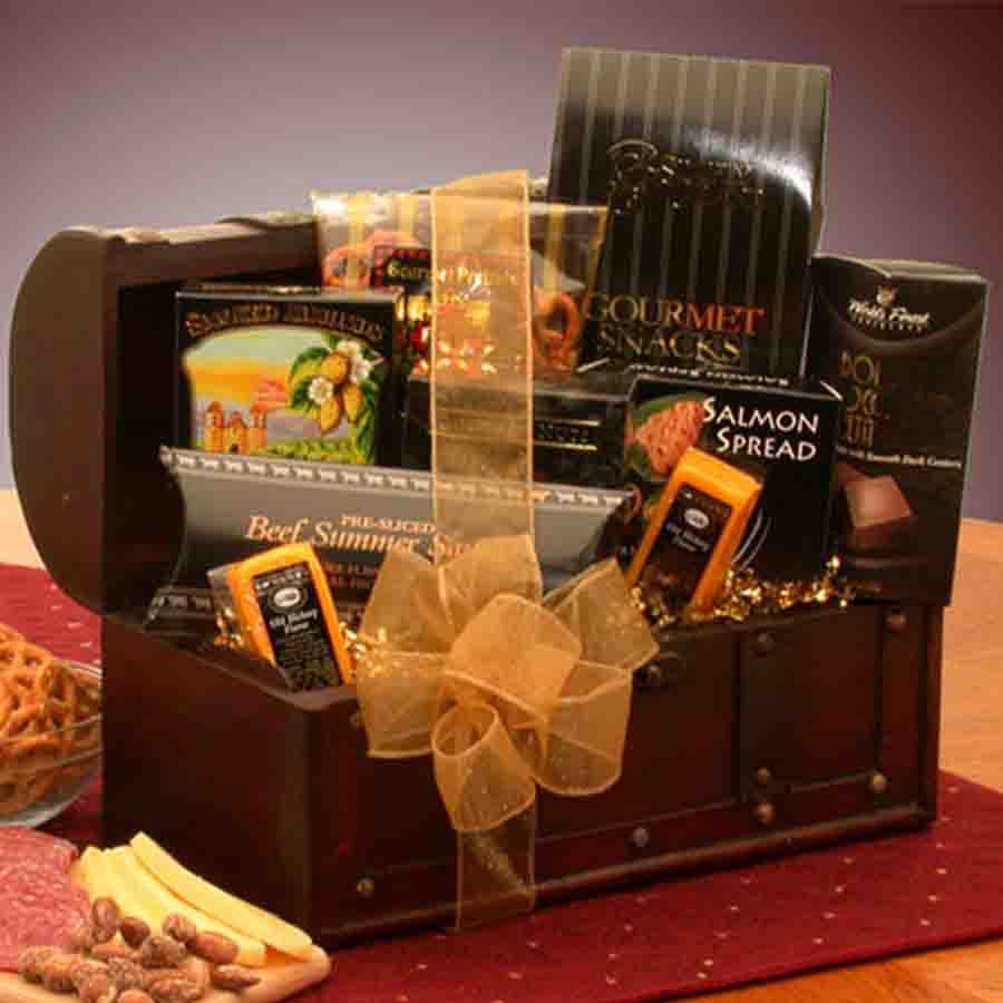 A gourmet food treasure chest! Act on your thoughtfulness for any reason at all, and your kindness will shine through with this treasure chest of gourmet foods. The solid wooden treasure chest is filled with delicious gourmet food treats and snacks and th #food
