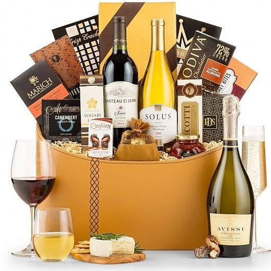 A grand impression is certain with this keepsake attache containing 3 noteworthy wine selections: Kendall Jackson Chardonnay, Chateau Ste. Michelle Cabernet Sauvignon, and Wolf Blass Yellow Label Brut Sparkling Wine plus gourmet delights #food