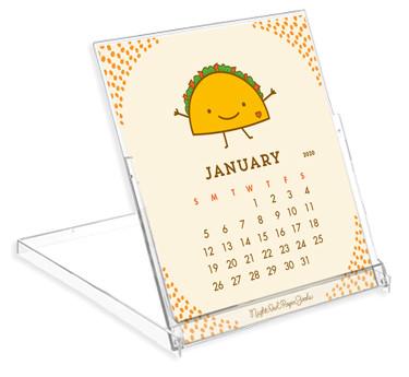12-month paper desk calendar #food