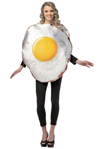 This egg costume is a funny way to become a part of the most important meal of the day! Check out all our breakfast food costumes for a funny group look. #food