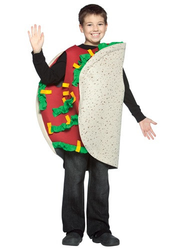 Become your favorite Mexican food instantly when you wear this child taco costume. This child taco costume is a funny food costume for kids. #food
