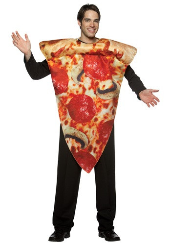 This pizza slice costume is guaranteed to be a big slice of fun! adult pizza costume for Halloween or for a food costume event and get lots of laughs. #food