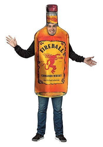 Cinnamon, fire and whiskey, what could be better? This Adult Fireball Bottle Costume that is. Show your love for your favorite adult beverage, and gain some laughs along the way! #food