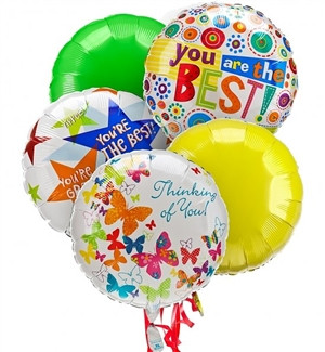 Say you care with 5 Mylar Balloons available for hand delivered to the recipient's home or office. Balloons add fun to any occasion. Exact balloon designs will vary depending upon location. This Beautiful Bouquet of 5 Mylar Balloons is available for Same #best