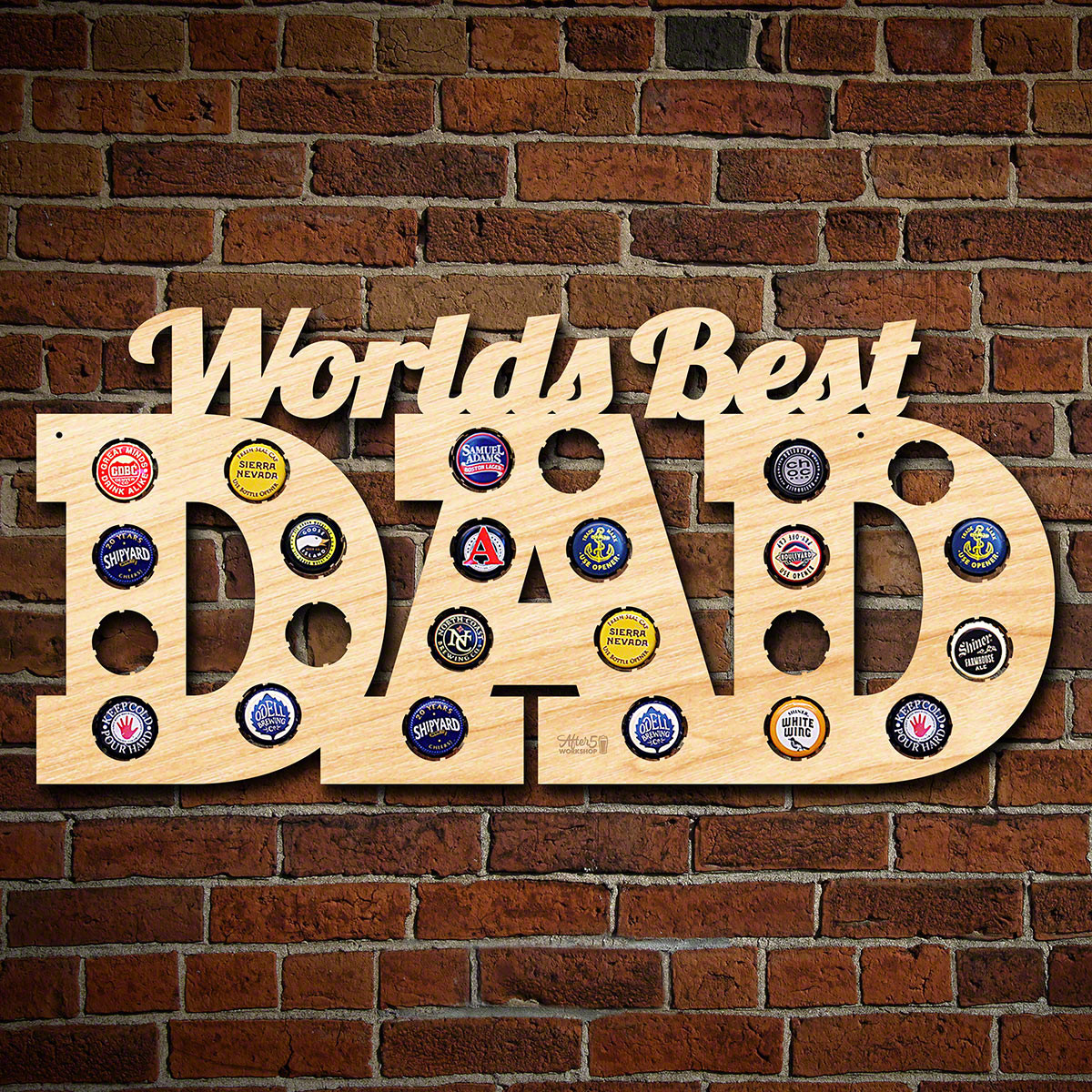 """It doesn't matter if he is a craft beer enthusiast or a more traditional imbiber, any beer loving dad will love this unique bottle cap art. Crafted from 1/4"""" cut American birch wood, each of these beer cap maps proudly proclaims your dad as the world's be #best"""