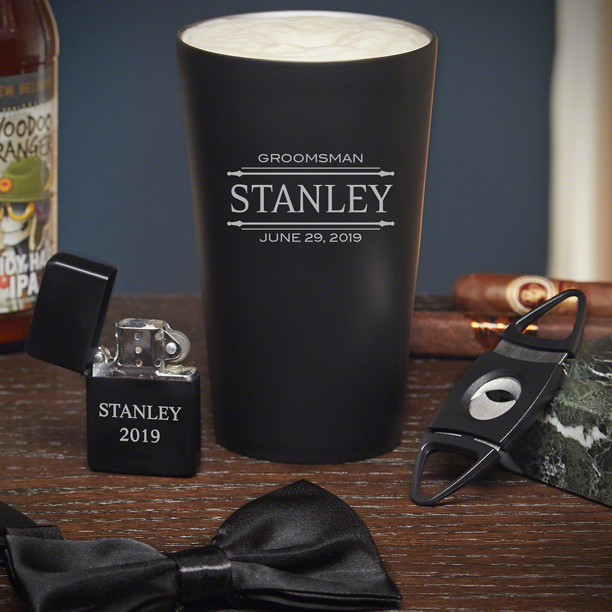 You want to ask your buddy to be your best man for your upcoming wedding, but you don't know how. This best man gift set is the perfect way! With a personalized pint glass, lighter, cigar cutter, and a bow tie, this set has everything your friend needs #best
