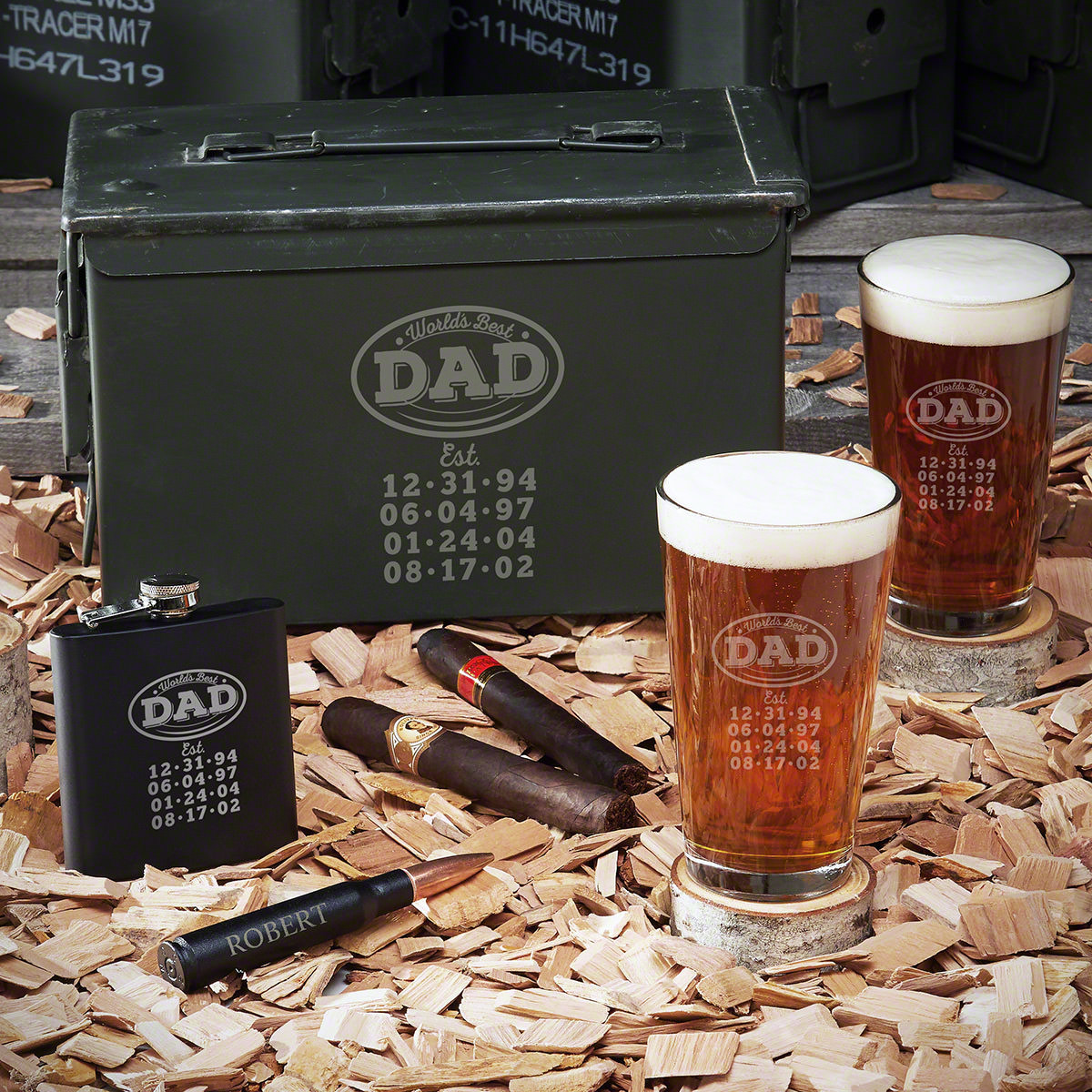 Your dad is impossible to shop for but still deserves the gift imaginable. Our custom ammo box set has everything your dad needs. The two matching pint glasses are the best way to enjoy any beer. The engraved 50-caliber bullet bottle opener can easily fit #best