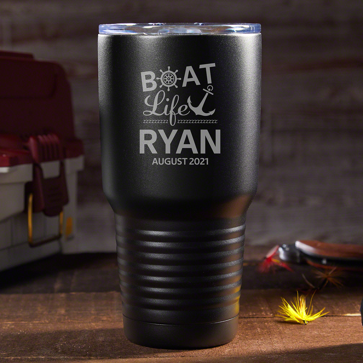 Nothing's better than relaxing on your boat, enjoying a nice cold beverage. Ensure that it stays cold with this personalized stainless steel tumbler that will keep your drink frosty cold when you're out on the water, similar to the Yeti-style tumblers #best