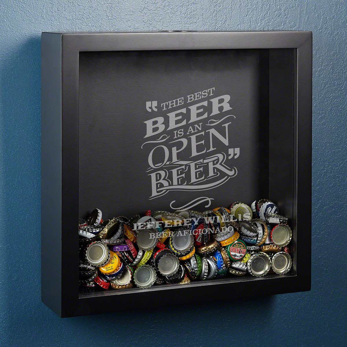 These sleek black shadow boxes hold all of your beer caps while encouraging you to keep the beers flowing to fill it up with caps. Excellent gifts for college students, these boxes are personalized with our Best Beer design, a name, and text that you choo #best