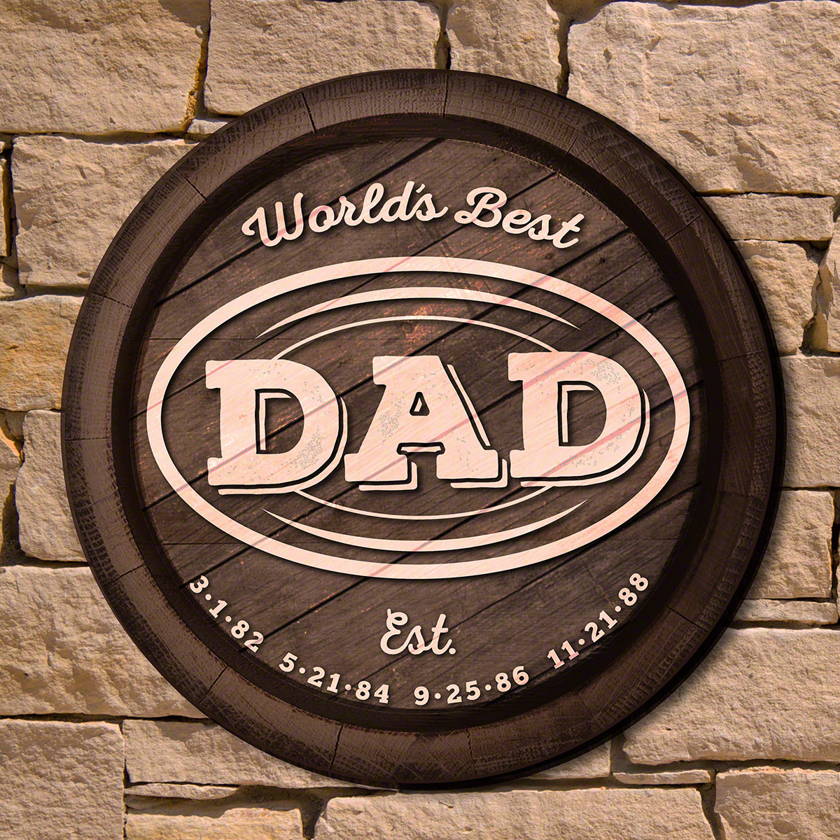 Though many dates in a man's lifetime will go down as milestones, few are as important as the birthdays of his children. Our World's Best Dad custom wall sign is a truly unique way to honor your father on his birthday, Father's Day, or any occasion. Made #best