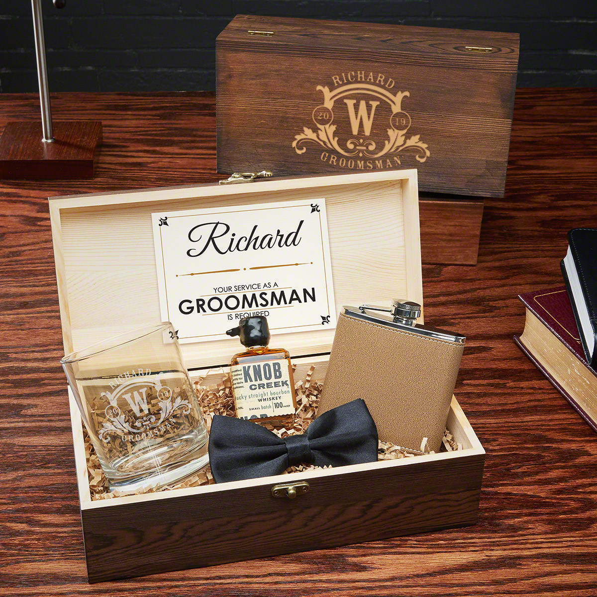 Surprise the guys who will be standing alongside their best friend at the altar on wedding day with a gift box set they will never expect. This five piece personalized groomsmen gift box set comes packed with valuable amenities, and is sure to go down in #best