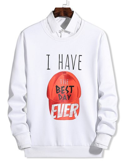 Cap Pattern Best Day Letter Graphic Print Sweatshirt #best