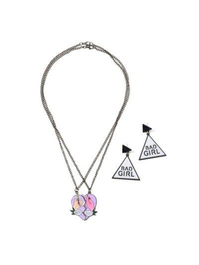 Best Buds Heart Geometric Jewelry Set #best