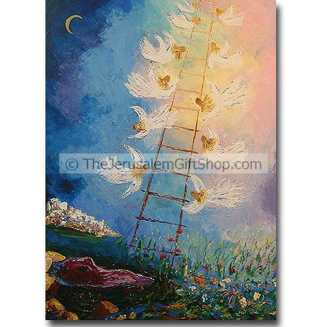 Jacob's Ladder by Jocelyne Elbaz Jocelyne studied painting and drawing in Palma de Mallorca 1968 - 1970 before becoming a member of the painters workshop in Barcelona in 1972. She then came to Israel to settle with her family in 1973 and has lived here in #Jacob
