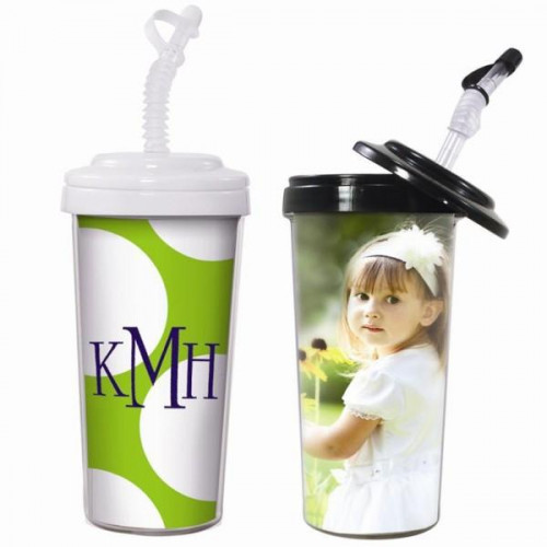 20 oz. travel tumbler with bendy straw, perfect size, easy to place the photos or design inside. Perfect to insert your painting or drawing. This tumbler set includes a black tumbler and a white one. #%20