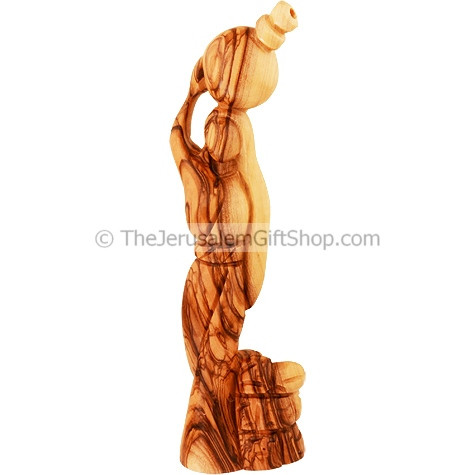 'Woman at the Well' carved in quality olive wood by Christians inBethlehem the town of Jesus birth. Size:7 inches / 17 cm high approx.Genuine Holy Land product. Then saith the woman of Samaria unto him, How is it that thou, being a Jew, askest #Jacob