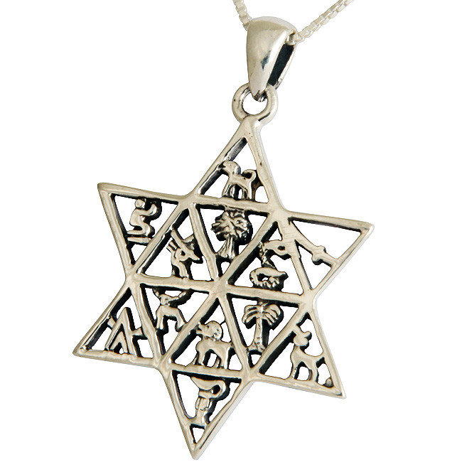 Extremly detailed sterling silver Star of David pendant featuring the emblem of the 12 tribes of Israel. Israeli made.Size: 1.2 inch diameter. TheTwelve Tribes of Israelwere the tribes thatdescended from the patriarch Jacob. Jacob had 12 #Jacob