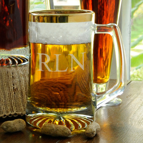Remember your next occasion every time you drink from this personalized mug filled with your favorite beverage, one step up from the pub with its stylish gold rim. Holds 25 fluid ounces. Personalized with two lines of up to 15 characters per line. #mug