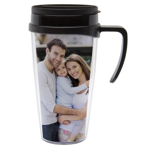 This 12 oz. travel mug is great for displaying a photo, scrapbooking, or embroidery. Its size fits in standard sized cup holder. #mug
