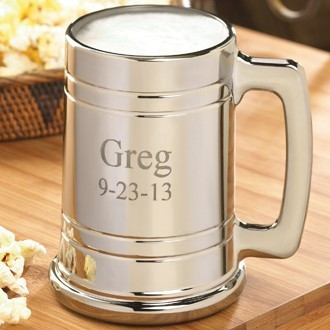 Beer drinkers will love this metal coated Gunmetal Mug! The contemporary twist on this classic gift makes our Gunmetal beer mug an exciting addition to a barware collection. Made from glass coated in a thin, shiny metal finish, this beer mug features a st #mug