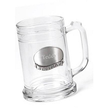 Give a keepsake mug to honor your best buddies - choose from medallions that are plain, say Groom, Best Man, Groomsman or Usher, and personalized with a name. Each glass mug with pewter medallion holds 16 fluid ounces. Personalized with two lines of up to #mug