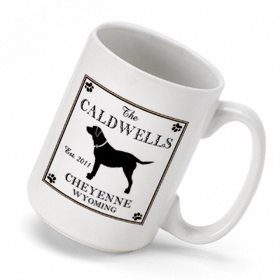 This Labrador Mug is the perfect way for the outdoors man to enjoy a cup of joe at the cabin. The classic coffee mug features the silhouette of a hunting dog, and you can personalize to add name, location and year! This ceramic mug holds 16 ounces of your #mug