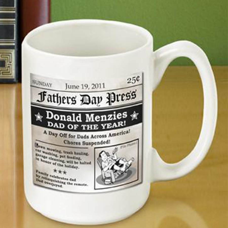 A great gift idea for Father's Day! Dad will remember you with his cup of coffee every morning. Extra Extra read all about it! Using a newspaper style theme this high quality coffee mug announces that your dad is the dad of the year! Holds 15 ounces. Add #mug