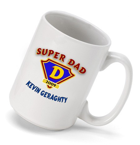 Tell your dad just how great he is with a mug customized just for him. Super Dad to ATG the Day! Is your dad your super hero? If so give him our large coffee cup decorated with a super dad logo and personalized with your Father's name. Heavy-duty ceramic #mug