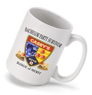 Give them a funny cup for the coffee the morning after. Bachelor party attendees and groomsmen will love this hilarious mug which offers a merit badge for making it through the night before the wedding party. The colorful insignia includes all the vices o #mug