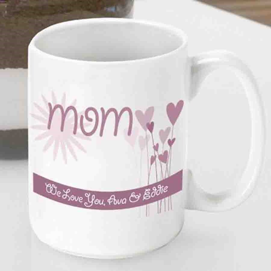 Customize a mug for Mom this Mothers Day! This sweetheart of a gift is sure to make Mom smile! Make sure she always wakes up to a loving message along with her favorite brew with our personalized Hearts and Flowers mug. This heavy duty ceramic mug holds u #mug