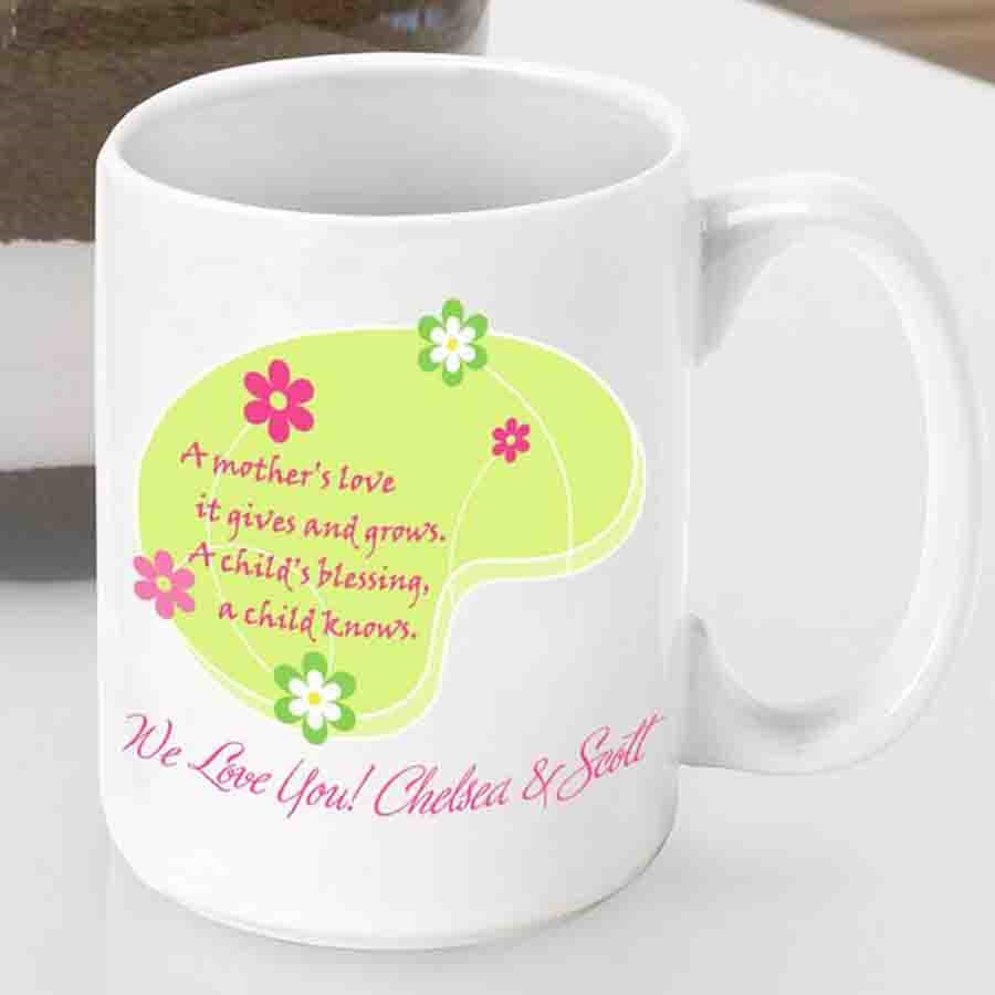 Mom will love her own coffee cup for enjoying favorite beverages! Our super sweet Love Grows Mom Mug features a heartwarming poem which is perfect for new mom or baby shower. Here is the heart warming poem from an unknown writer: A mother's love it gi #mug