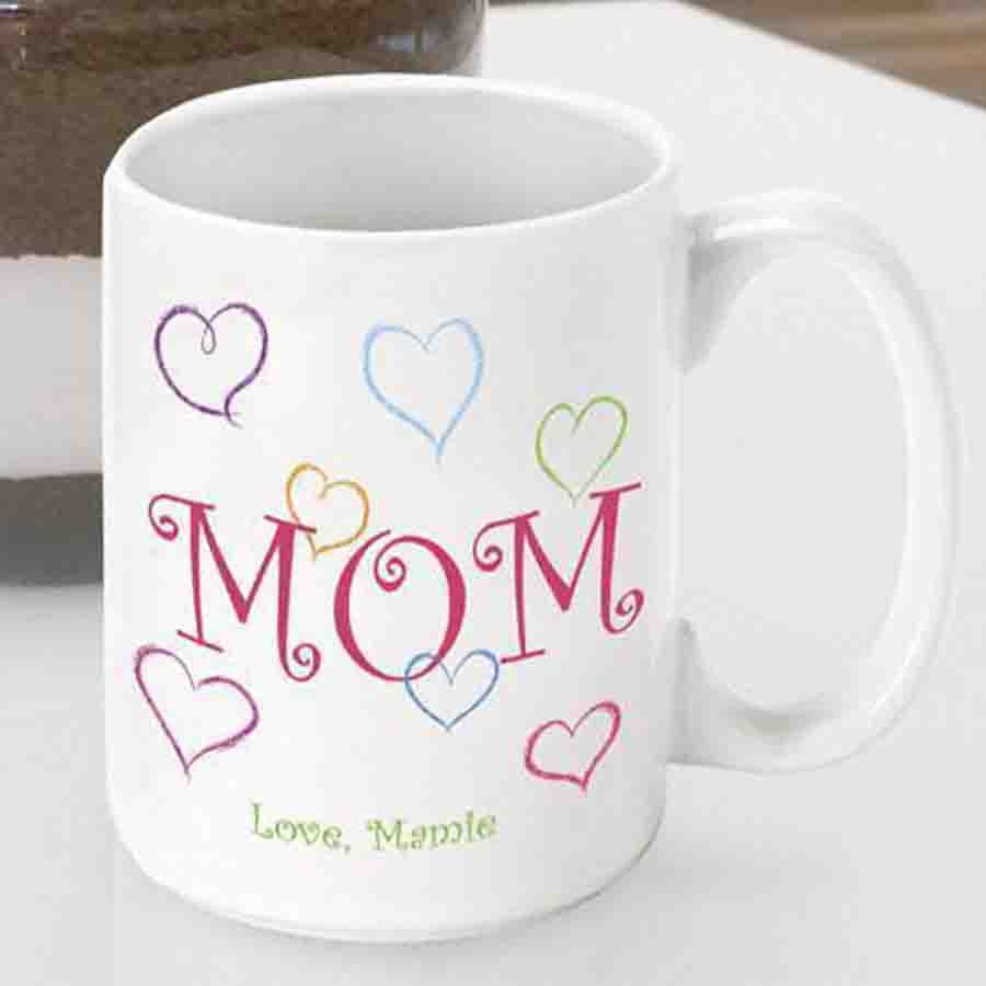 """Say I love you with a custom coffee mug for Mom. Let your Mom know you appreciate her love with our """"Moms Love"""" themed coffee mug. Wake her up each morning with a kind word from you with which to enjoy with her favorite brew! Personalize a coffee cup for #mug"""