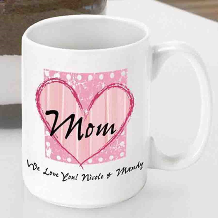 Let Mom know you care with a personalized gift for her birthday, retirement or Mother's Day. Send some love her way with our Shabby Chic Mom mug. Wake Mom up with a loving message from you to enjoy with her favorite morning brew. Customize the coffee cup #mug