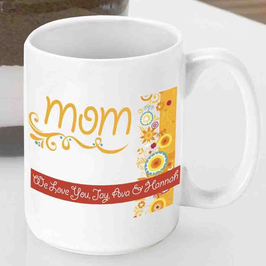 Personalize a coffee mug for Mom this Mothers Day! Our vibrantly whimsical Sunshine and Flowers mom mug is too cute to pass up! Now Mom can wake up every morning to a kind word from you along with her favorite brew. Order a coffee cup for Mother's Day, a #mug