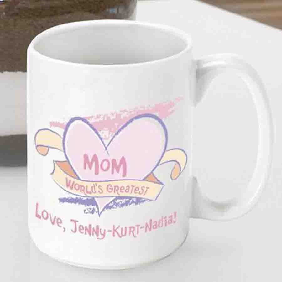 Show Mom that you care with a personalized Mom mug! Declare her the World's Greatest Mom with this sweet and whimsical coffee mug for a super mother. Wake her up every morning with a sweet message to enjoy with her favorite brew. Personalize a coffee cup #mug