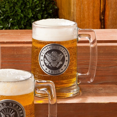 This beer stein is made using thick glass and enhanced with a personalized pewter medallion. An Army emblem is featured on the front of the mug. This customized beer stein is bound to charm everyone who shares admiration for Army vets. The thick glass co #mug
