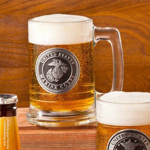 Sip beer while enjoying the company of your friends in this Marine beer stein. It can be customized. This Marine theme beer stein is an interesting bar accessory that is designed with a Marine emblem and personalized pewter medallion on the back. The thi #mug