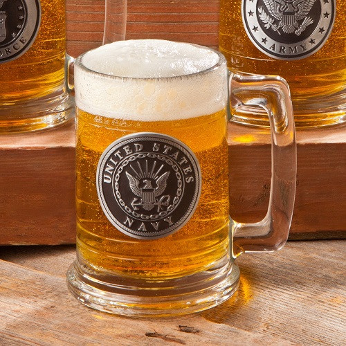 The striking appearance of this glass beer stein comes from its rich Navy emblem and pewter medallion accented with your customized details. If you are looking for a gift for a military person, this Navy emblem accented beer stein is a wonderful option. #mug