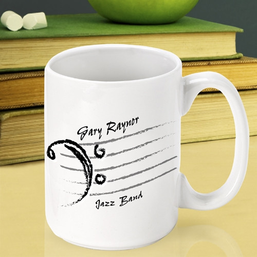 Personalize a musical mug for the music teacher on your gift list! Thank a teacher for the gift of music with our custom Bass Clef coffee mug. Perfect for the band instructor or symphony conductor, this coffee cup will leave praise ringing in their ears! #mug