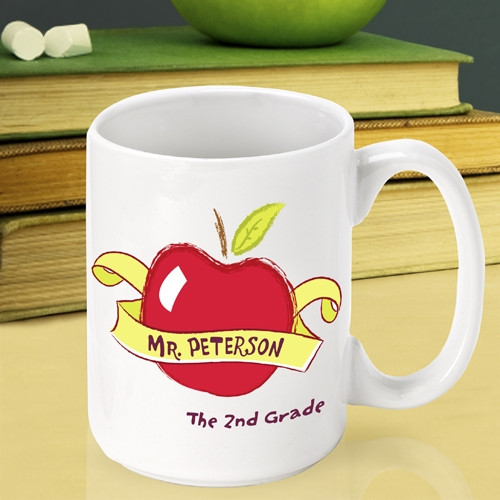 Personalize a ceramic mug for a terrific teacher! Make sure a terrific teacher gets an apple each day! Our custom Apple mug is the perfect way to thank a teacher at the end of the school year. This custom mug will look fabulous sitting on a desk. The cof #mug