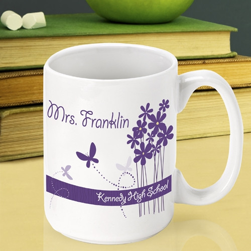 Add personalization to this fun mug to thank a wonderful teacher. Encourage a super teacher in keeping up their excellent work with a custom mug just for teachers. Our Blooming Butterfly teacher mug is a lovely way to say thank you to an instructor that #mug