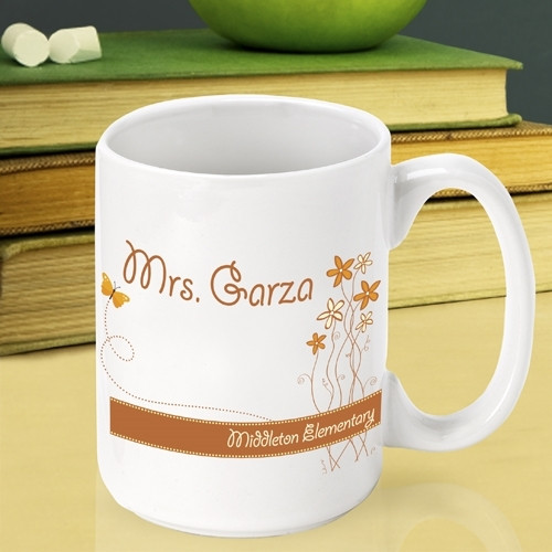 Customize a mug for a teacher at the end of the school year! Spring is in the air and the school year is at an end! Be sure to thank that extra special teacher with a gift that is both thoughtful and fun. Our Breath of Spring teacher mug is the perfect w #mug