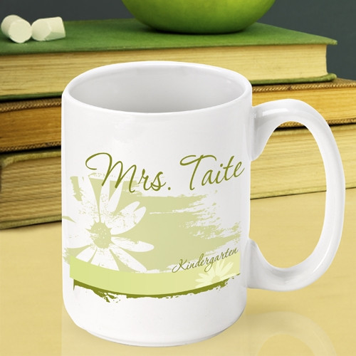 Their desk just got fabulous with this fun Teacher mug! Express your gratitude to a terrific teacher with our custom Delicate Daisy teacher mug. This pretty mug will look fabulous sitting on their desk and is certain to be the envy of the faculty lounge! #mug