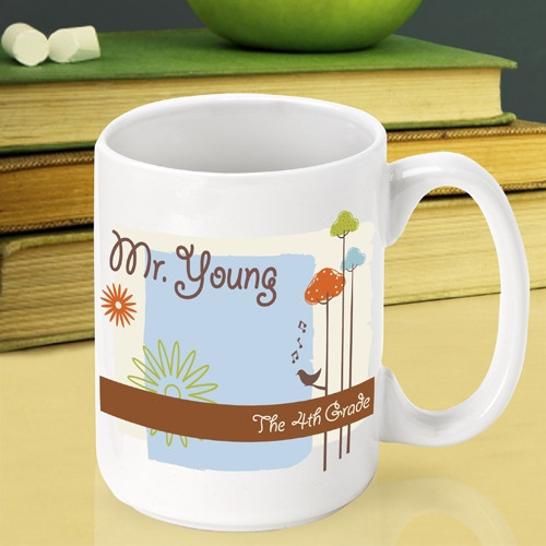 Thank a great instructor with an end of year teachers mug! Express your gratitude to a wonderful teacher with our custom Nature's Song teacher mug. This lovely mug will look wonderful sitting on their desk and is sure to be the envy of the staff lounge! #mug
