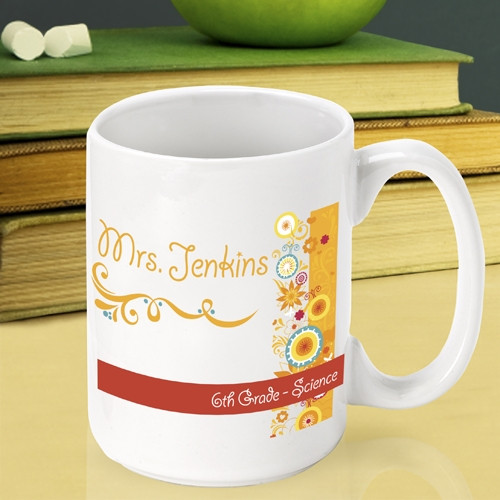 Add some sunshine to a teachers morning with this custom Teacher mug. Encourage a wonderful teacher to keep up the good work with a custom mug just for teachers. Our Sunshine and Flowers mug is a sweet way to say thanks to an instructor that made a diffe #mug