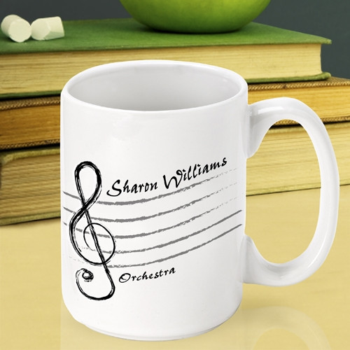 Personalize a ceramic coffee cup for a favorite music teacher. The perfect gift for a favorite music teacher! Our custom Treble Clef coffee mug is a fun way to thank a wonderful music teacher at the end of the school year. They are sure to be the envy of #mug
