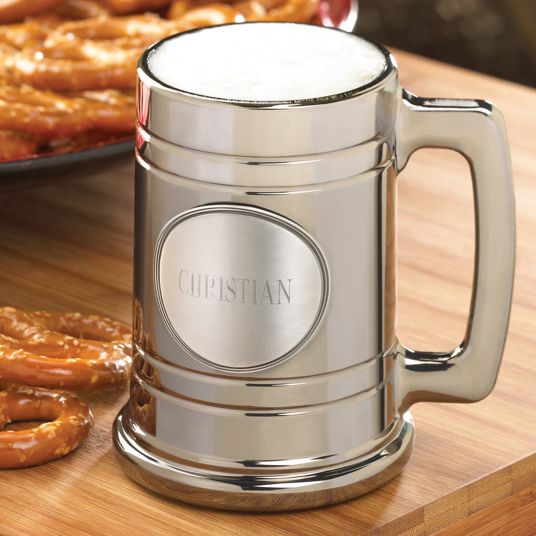 Give your groomsman or best beer drinking pal a Metallic Mug with a personalized Pewter Medallion! They will be tossing them back in style with this classy metallic beer mug. Though the mug looks like it is made from solid metal, it is actually glass coat #mug