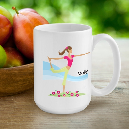 Surprise her with a coffee mug featuring her favorite hobby or activity! Our Active Girl custom coffee mugs are great for the gal on the go! Each heavy white ceramic mug features a trendy icon with your choice of hair color and activity. Whatever her favo #mug