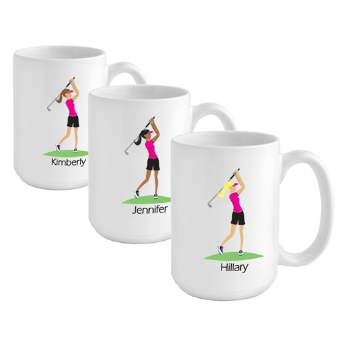 Give the golfer girl on your list a custom coffee mug to reflect her favorite activity! The golfer girl on your list will love our Golf coffee mug featuring stylish golf imagery. The 15 ounce coffee mug can be personalized with a name up to 10 characters. #mug